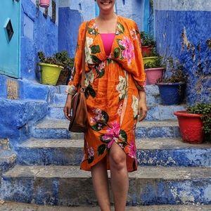 Orange floral kimono dress